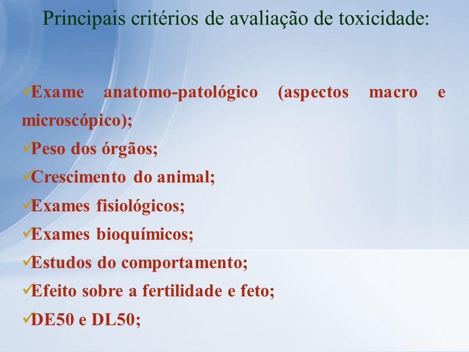 Exame anatomo-patológico (aspectos macro e microscópico); Peso dos órgãos; Crescimento do animal; Exames fisiológicos; Exames bioquímicos; Estudos do