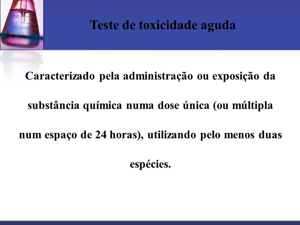 Teste de toxicidade aguda Caracterizado pela administração ou exposição da substância química numa dose única (ou múltipla num espaço de 24 horas), ut