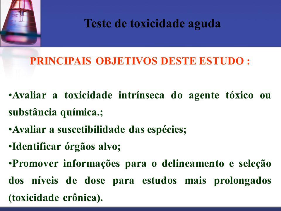 Teste de toxicidade aguda PRINCIPAIS OBJETIVOS DESTE ESTUDO : Avaliar a toxicidade intrínseca do agente tóxico ou substância química.; Avaliar a susce