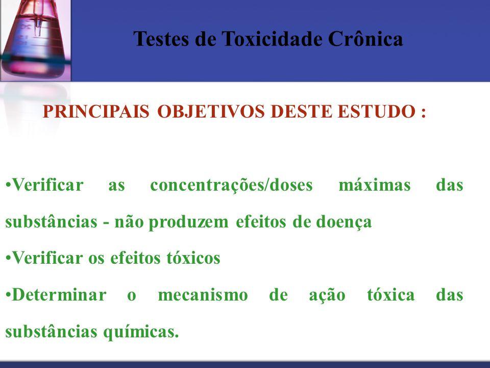 Testes de Toxicidade Crônica PRINCIPAIS OBJETIVOS DESTE ESTUDO : Verificar as concentrações/doses máximas das substâncias - não produzem efeitos de do