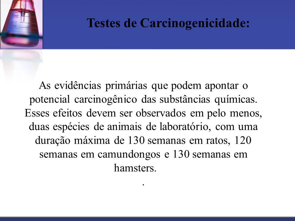 Testes de Carcinogenicidade: As evidências primárias que podem apontar o potencial carcinogênico das substâncias químicas. Esses efeitos devem ser obs