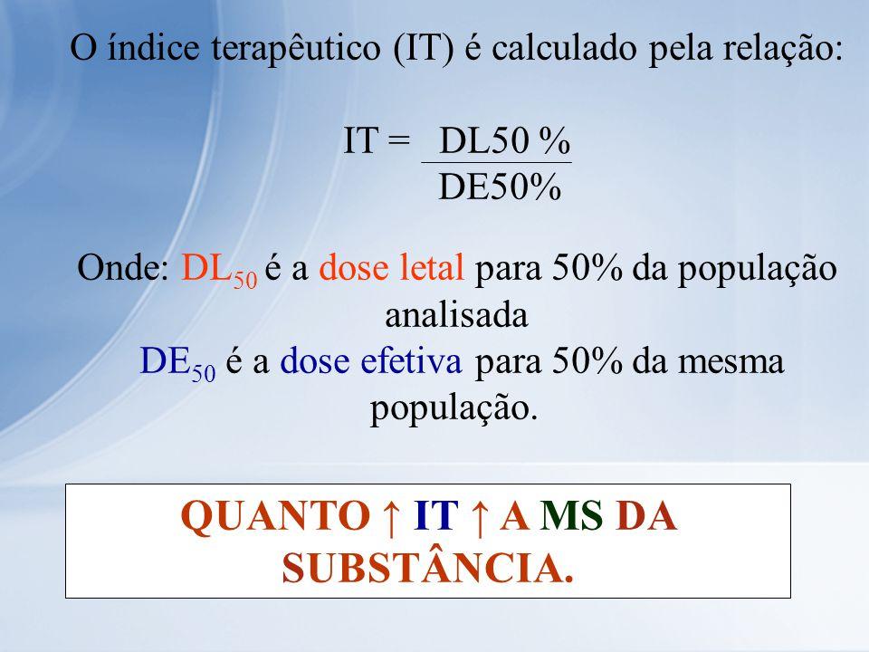 O índice terapêutico (IT) é calculado pela relação: IT = DL50 % DE50% Onde: DL 50 é a dose letal para 50% da população analisada DE 50 é a dose efetiv