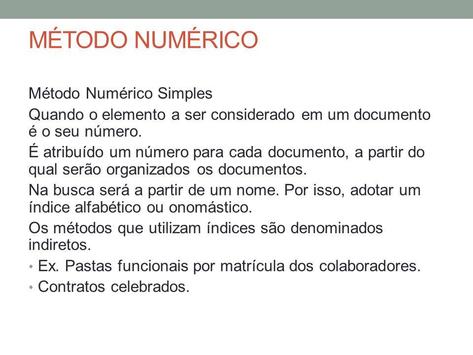 MÉTODO NUMÉRICO Método Numérico Simples Quando o elemento a ser considerado em um documento é o seu número. É atribuído um número para cada documento,