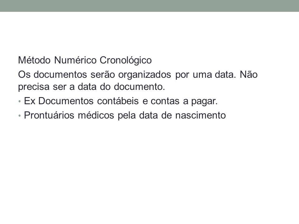 Método Numérico Cronológico Os documentos serão organizados por uma data. Não precisa ser a data do documento. Ex Documentos contábeis e contas a paga