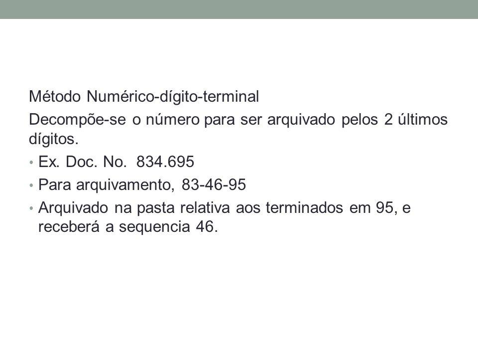 Método Numérico-dígito-terminal Decompõe-se o número para ser arquivado pelos 2 últimos dígitos. Ex. Doc. No. 834.695 Para arquivamento, 83-46-95 Arqu
