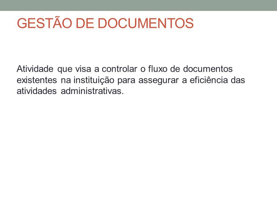 GESTÃO DE DOCUMENTOS Atividade que visa a controlar o fluxo de documentos existentes na instituição para assegurar a eficiência das atividades adminis