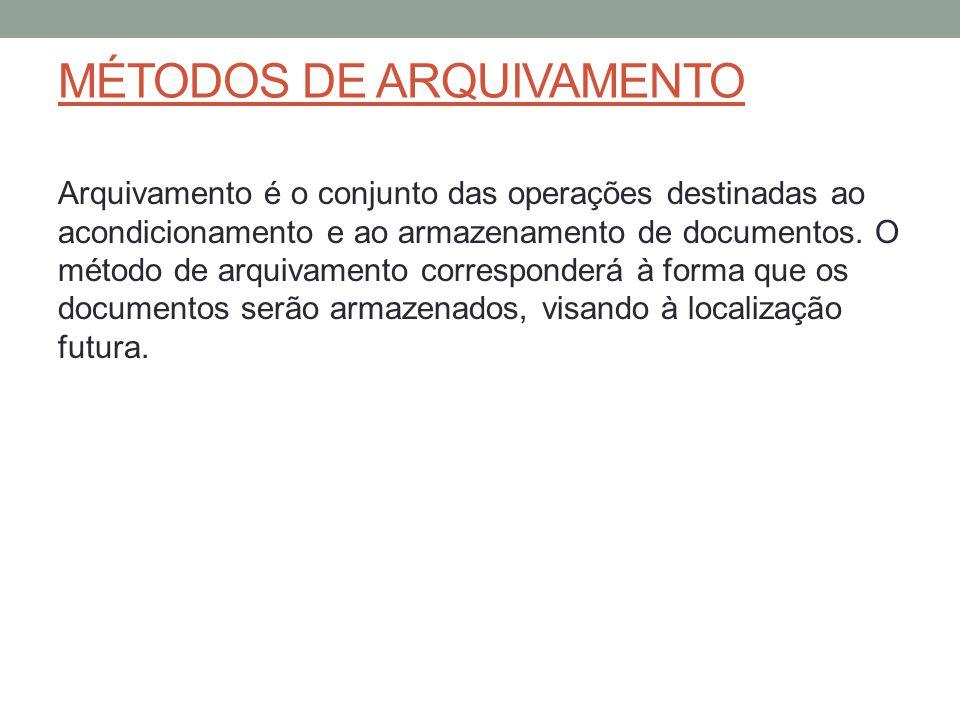 MÉTODOS DE ARQUIVAMENTO Arquivamento é o conjunto das operações destinadas ao acondicionamento e ao armazenamento de documentos. O método de arquivame