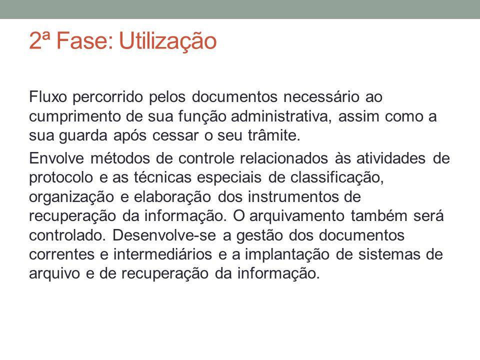2ª Fase: Utilização Fluxo percorrido pelos documentos necessário ao cumprimento de sua função administrativa, assim como a sua guarda após cessar o se