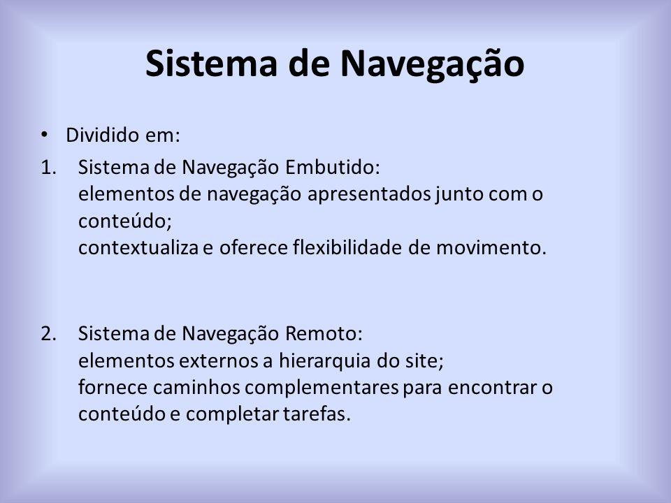 Sistema de Navegação Dividido em: 1.Sistema de Navegação Embutido: elementos de navegação apresentados junto com o conteúdo; contextualiza e oferece flexibilidade de movimento.