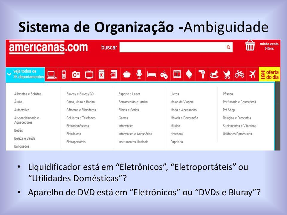 """Sistema de Organização -Ambiguidade Liquidificador está em """"Eletrônicos"""", """"Eletroportáteis"""" ou """"Utilidades Domésticas""""? Aparelho de DVD está em """"Eletr"""