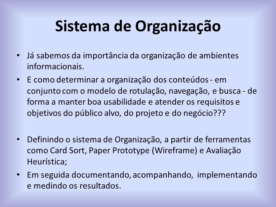 Sistema de Organização Já sabemos da importância da organização de ambientes informacionais. E como determinar a organização dos conteúdos - em conjun