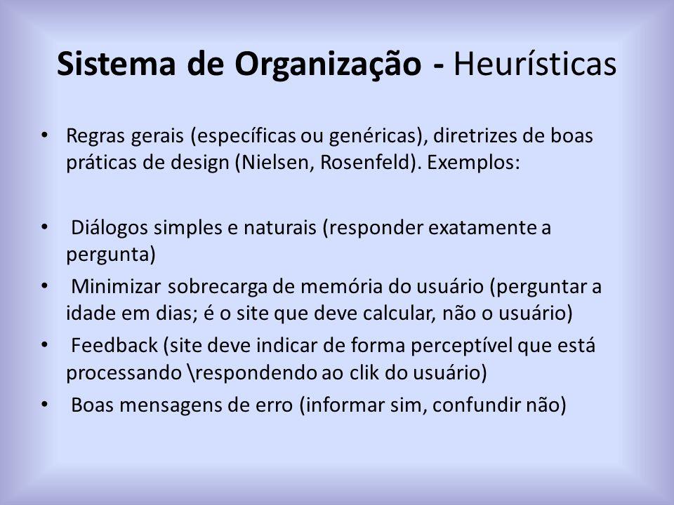 Sistema de Organização - Heurísticas Regras gerais (específicas ou genéricas), diretrizes de boas práticas de design (Nielsen, Rosenfeld). Exemplos: D