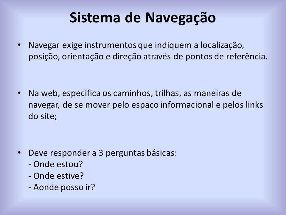 Sistema de Navegação Navegar exige instrumentos que indiquem a localização, posição, orientação e direção através de pontos de referência. Na web, esp