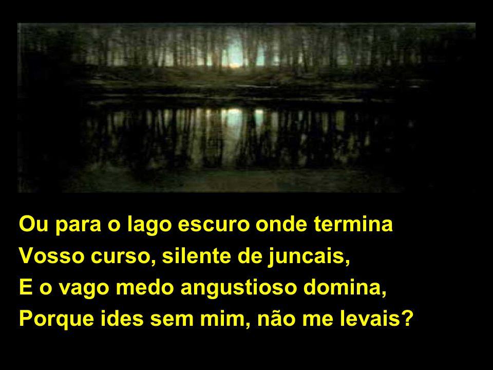 Ou para o lago escuro onde termina Vosso curso, silente de juncais, E o vago medo angustioso domina, Porque ides sem mim, não me levais?