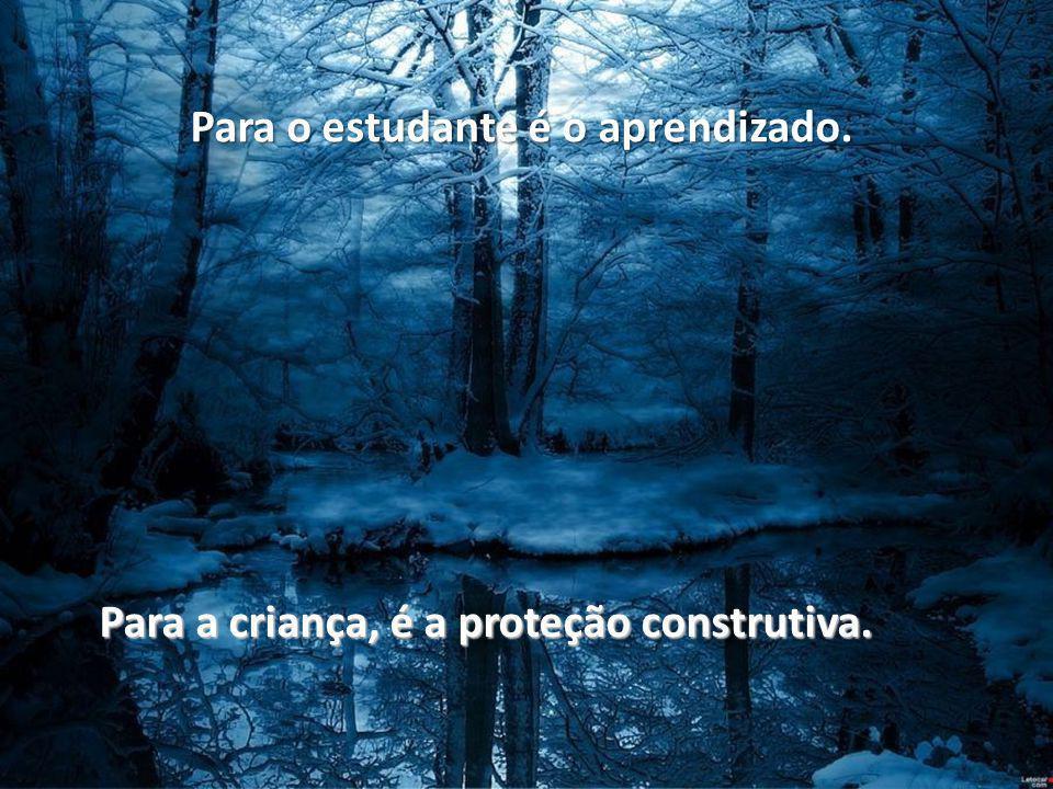 Para o estudante é o aprendizado. Para a criança, é a proteção construtiva.