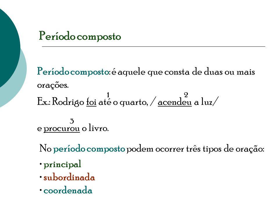 Período composto Período composto: é aquele que consta de duas ou mais orações. Ex.: Rodrigo foi até o quarto, / acendeu a luz/ e procurou o livro. 12