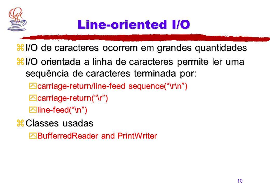 10 Line-oriented I/O zI/O de caracteres ocorrem em grandes quantidades zI/O orientada a linha de caracteres permite ler uma sequência de caracteres te