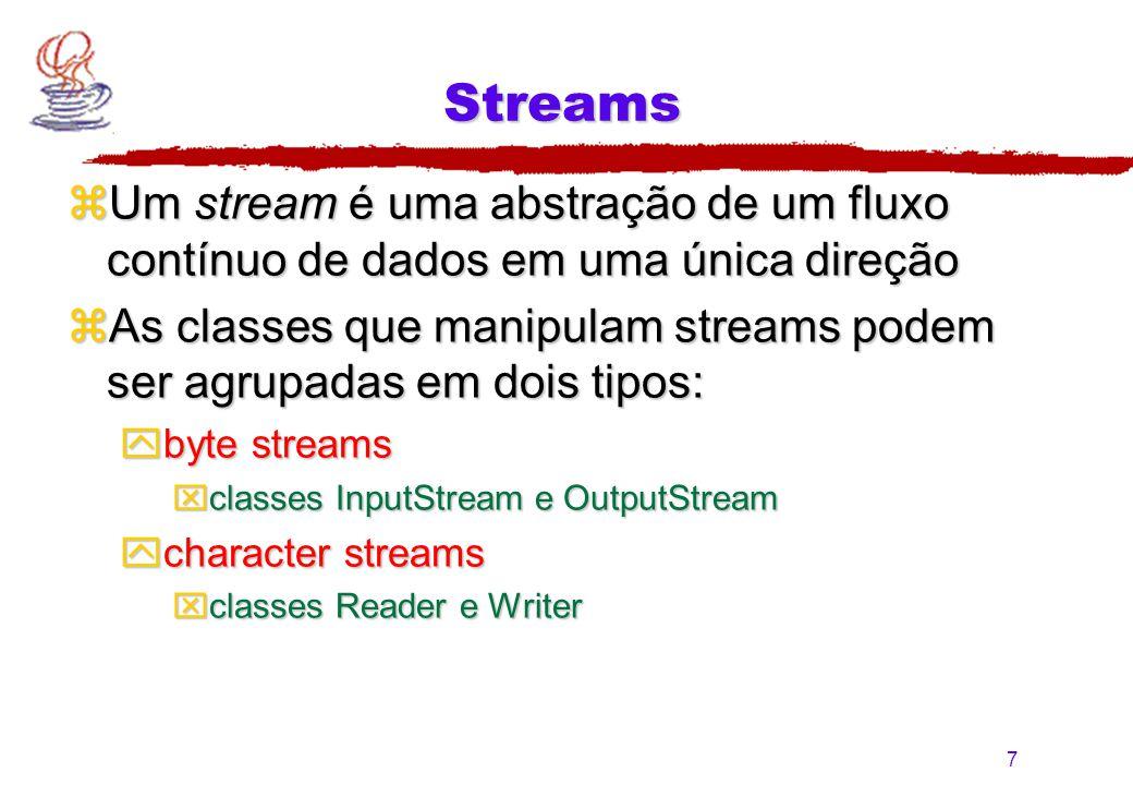 7 Streams zUm stream é uma abstração de um fluxo contínuo de dados em uma única direção zAs classes que manipulam streams podem ser agrupadas em dois