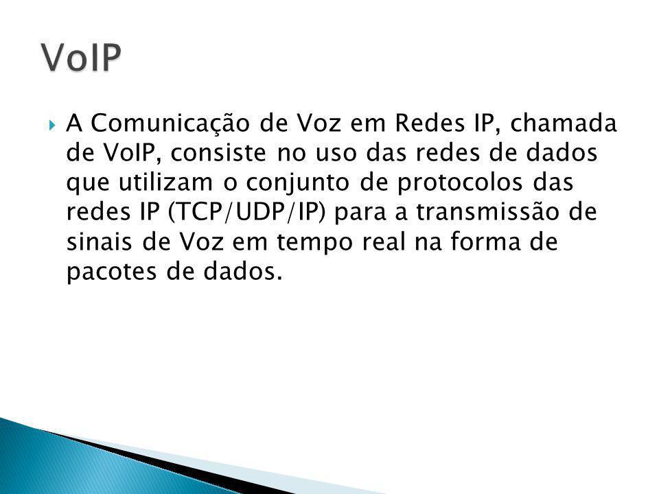 A Comunicação de Voz em Redes IP, chamada de VoIP, consiste no uso das redes de dados que utilizam o conjunto de protocolos das redes IP (TCP/UDP/IP) para a transmissão de sinais de Voz em tempo real na forma de pacotes de dados.