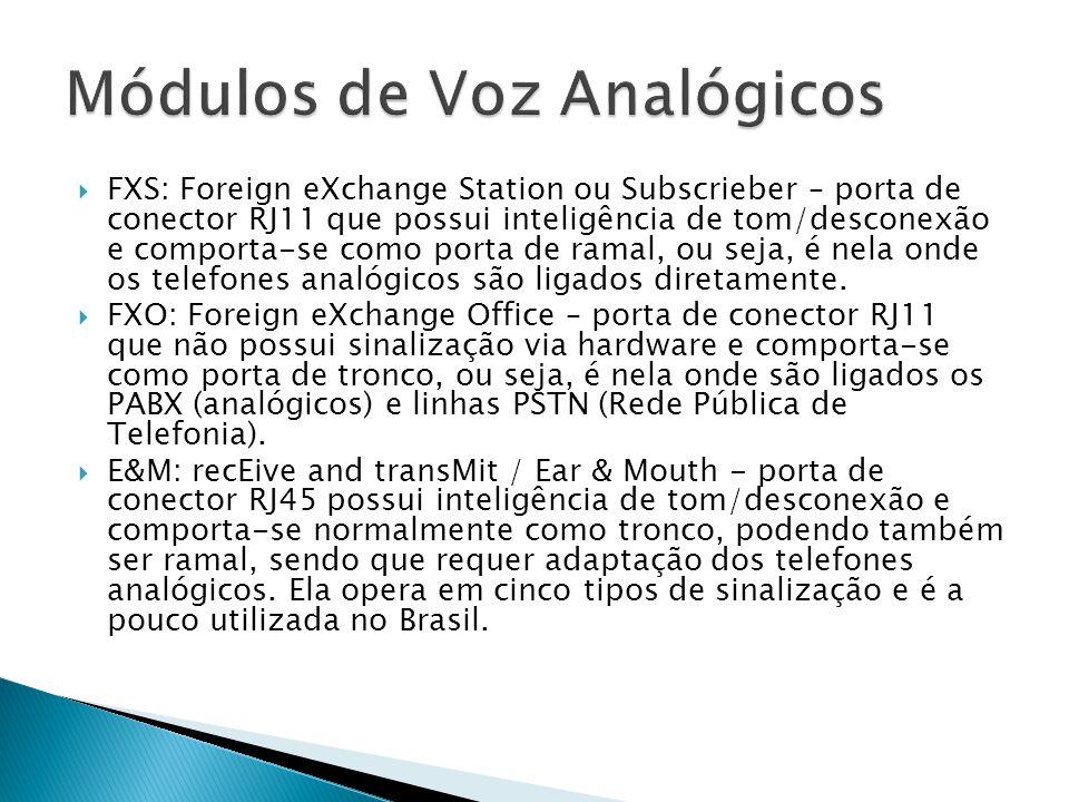  FXS: Foreign eXchange Station ou Subscrieber – porta de conector RJ11 que possui inteligência de tom/desconexão e comporta-se como porta de ramal, ou seja, é nela onde os telefones analógicos são ligados diretamente.