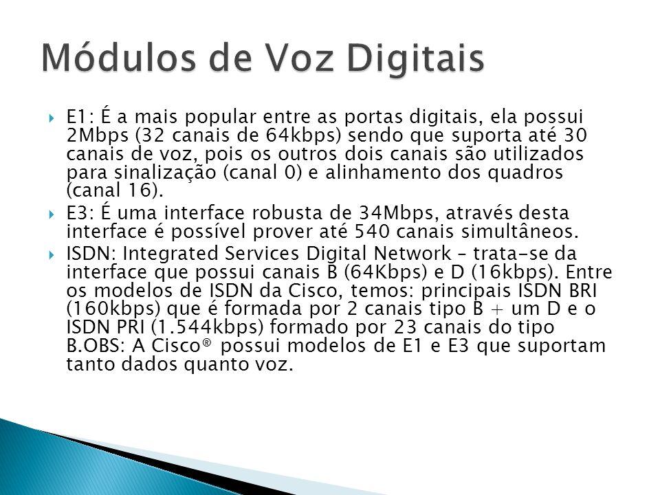  E1: É a mais popular entre as portas digitais, ela possui 2Mbps (32 canais de 64kbps) sendo que suporta até 30 canais de voz, pois os outros dois canais são utilizados para sinalização (canal 0) e alinhamento dos quadros (canal 16).