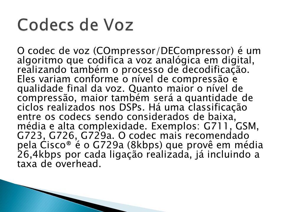 O codec de voz (COmpressor/DECompressor) é um algoritmo que codifica a voz analógica em digital, realizando também o processo de decodificação. Eles v
