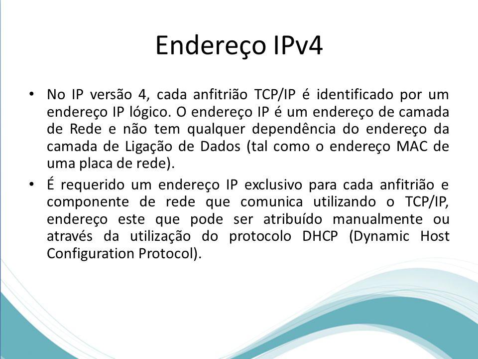 Endereço IPv4 No IP versão 4, cada anfitrião TCP/IP é identificado por um endereço IP lógico. O endereço IP é um endereço de camada de Rede e não tem