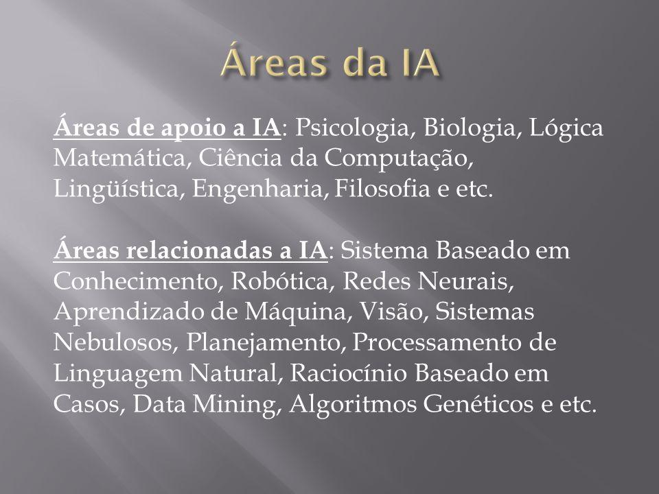 Áreas de apoio a IA : Psicologia, Biologia, Lógica Matemática, Ciência da Computação, Lingüística, Engenharia, Filosofia e etc. Áreas relacionadas a I