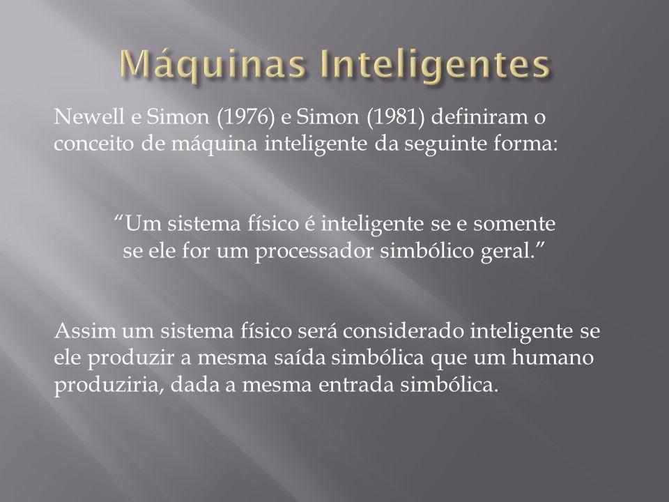 """Newell e Simon (1976) e Simon (1981) definiram o conceito de máquina inteligente da seguinte forma: """"Um sistema físico é inteligente se e somente se e"""