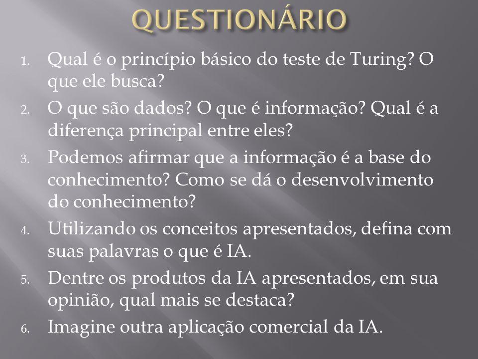 1. Qual é o princípio básico do teste de Turing? O que ele busca? 2. O que são dados? O que é informação? Qual é a diferença principal entre eles? 3.