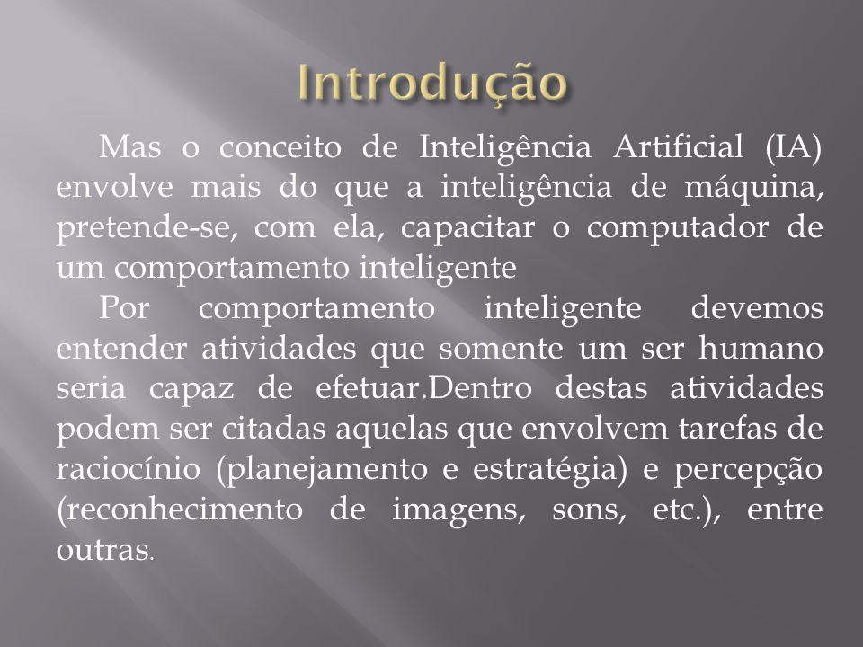 Mas o conceito de Inteligência Artificial (IA) envolve mais do que a inteligência de máquina, pretende-se, com ela, capacitar o computador de um compo