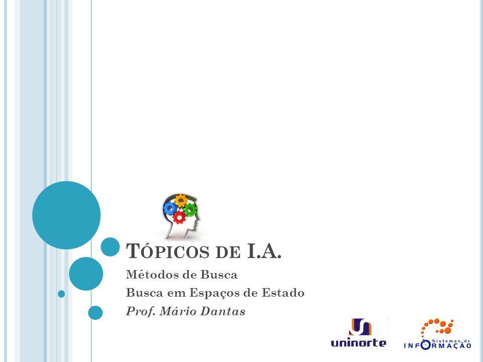 T ÓPICOS DE I.A. Métodos de Busca Busca em Espaços de Estado Prof. Mário Dantas