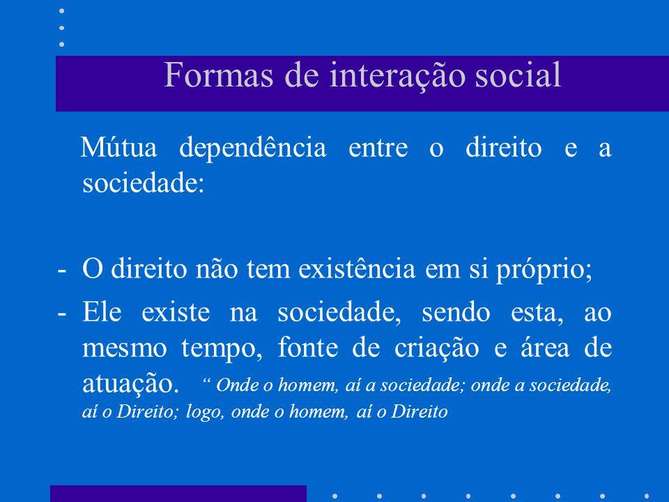 Formas de interação social CONFLITO – Disciplinada pelo direito: Oposição de interesses, entre pessoas ou grupos, não conciliados pelas normas sociais.