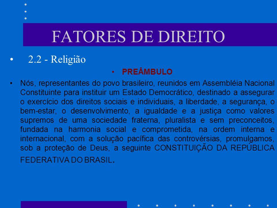 FATORES DE DIREITO 2.1 - Moral TÍTULO II Dos Direitos e Garantias Fundamentais CAPÍTULO I DOS DIREITOS E DEVERES INDIVIDUAIS E COLETIVOS Art.