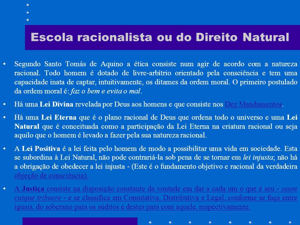 Escola racionalista ou do Direito Natural Atribui aos princípios fundamentais do Direito, caráter um absoluto.