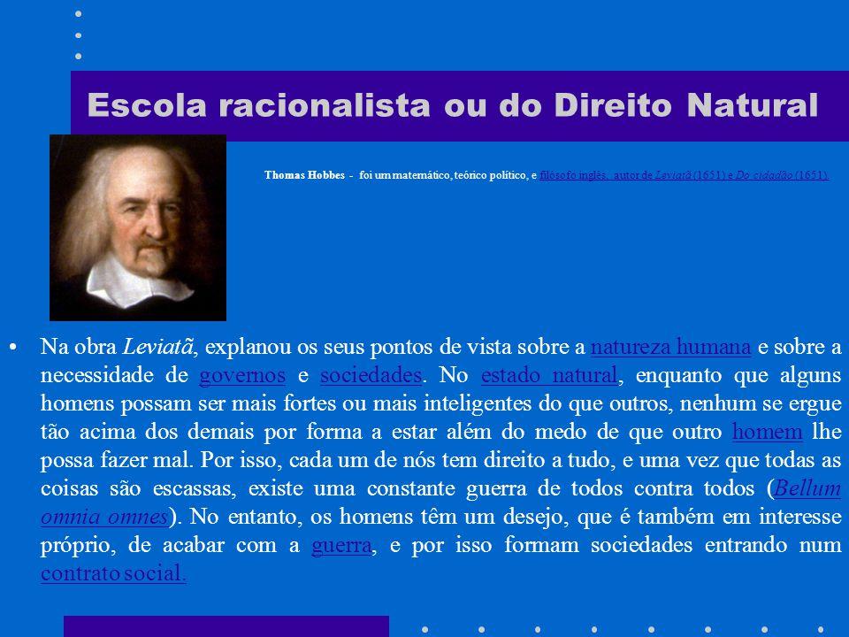 Escola racionalista ou do Direito Natural b) A doutrina racionalista do individualismo dos séculos XVII e XVIII, segundo a qual o direito decorre da própria natureza humana.