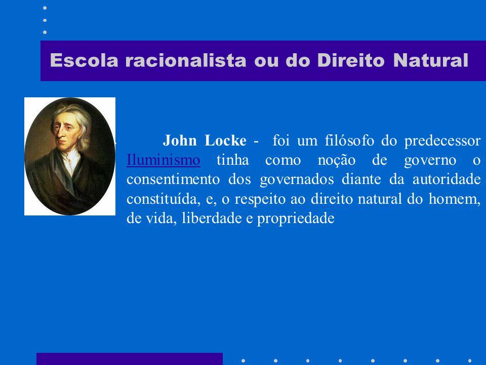 Escola racionalista ou do Direito Natural Thomas Hobbes - foi um matemático, teórico político, e filósofo inglês, autor de Leviatã (1651) e Do cidadão (1651).filósofo inglês, autor de Leviatã (1651) e Do cidadão (1651).