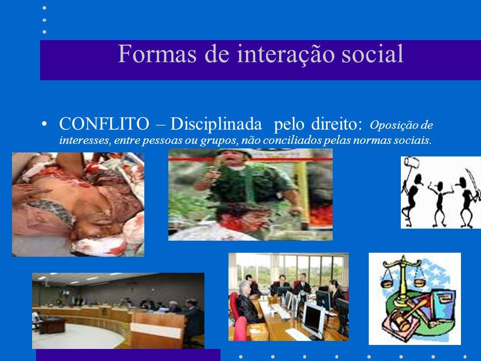 Formas de interação social COMPETIÇÃO – Disciplinada pelo direito
