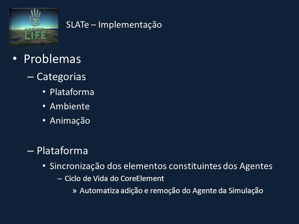 Problemas – Categorias Plataforma Ambiente Animação – Plataforma Sincronização dos elementos constituintes dos Agentes – Ciclo de Vida do CoreElement » Automatiza adição e remoção do Agente da Simulação SLATe – Implementação