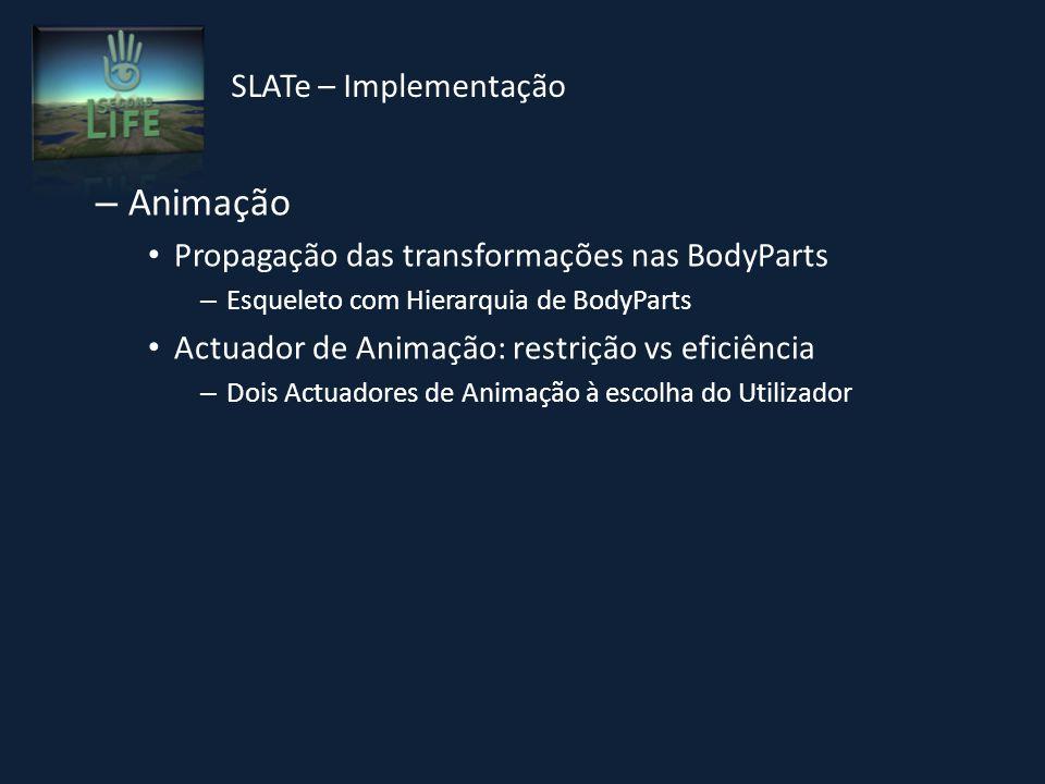 – Animação Propagação das transformações nas BodyParts – Esqueleto com Hierarquia de BodyParts Actuador de Animação: restrição vs eficiência – Dois Actuadores de Animação à escolha do Utilizador SLATe – Implementação