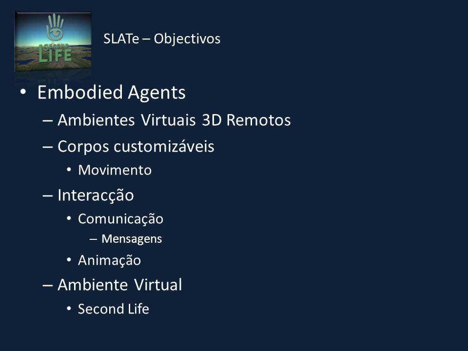 Embodied Agents – Ambientes Virtuais 3D Remotos – Corpos customizáveis Movimento – Interacção Comunicação – Mensagens Animação – Ambiente Virtual Second Life SLATe – Objectivos