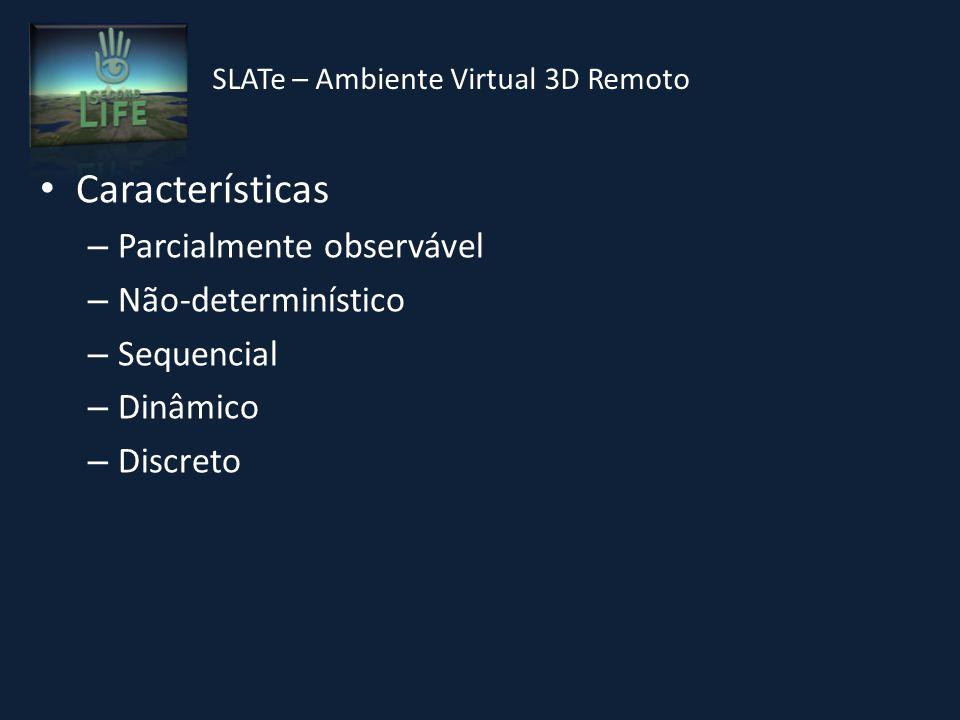 Características – Parcialmente observável – Não-determinístico – Sequencial – Dinâmico – Discreto SLATe – Ambiente Virtual 3D Remoto