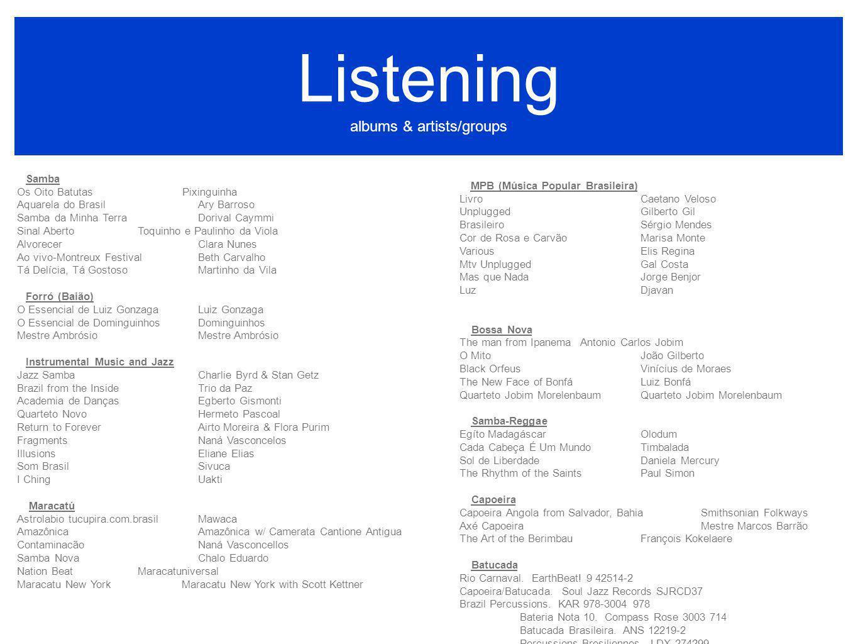 Listening albums & artists/groups MPB (Música Popular Brasileira) LivroCaetano Veloso UnpluggedGilberto Gil BrasileiroSérgio Mendes Cor de Rosa e Carv