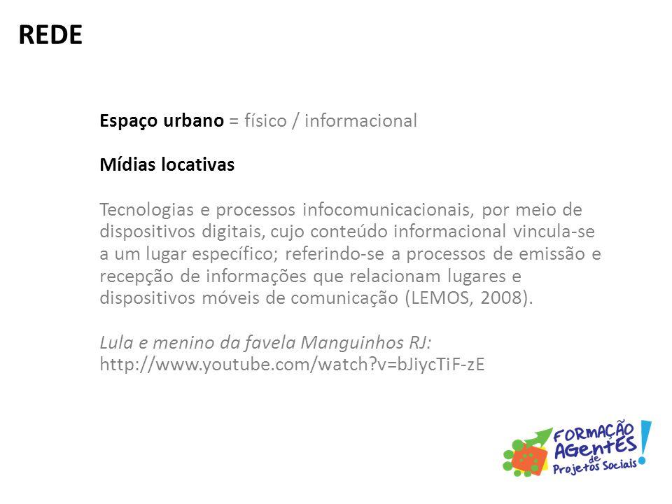 Espaço urbano = físico / informacional Mídias locativas Tecnologias e processos infocomunicacionais, por meio de dispositivos digitais, cujo conteúdo informacional vincula-se a um lugar específico; referindo-se a processos de emissão e recepção de informações que relacionam lugares e dispositivos móveis de comunicação (LEMOS, 2008).