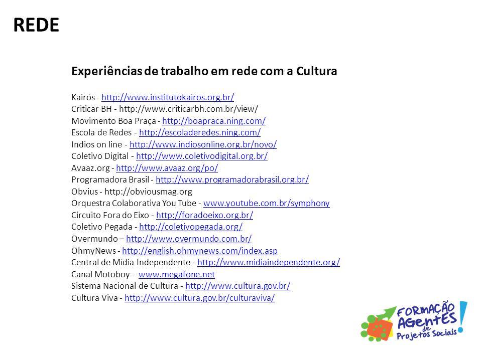Experiências de trabalho em rede com a Cultura Kairós - http://www.institutokairos.org.br/ Criticar BH - http://www.criticarbh.com.br/view/ Movimento Boa Praça - http://boapraca.ning.com/ Escola de Redes - http://escoladeredes.ning.com/ Indios on line - http://www.indiosonline.org.br/novo/ Coletivo Digital - http://www.coletivodigital.org.br/ Avaaz.org - http://www.avaaz.org/po/ Programadora Brasil - http://www.programadorabrasil.org.br/ Obvius - http://obviousmag.org Orquestra Colaborativa You Tube - www.youtube.com.br/symphony Circuito Fora do Eixo - http://foradoeixo.org.br/ Coletivo Pegada - http://coletivopegada.org/ Overmundo – http://www.overmundo.com.br/ OhmyNews - http://english.ohmynews.com/index.asp Central de Mídia Independente - http://www.midiaindependente.org/ Canal Motoboy - www.megafone.net Sistema Nacional de Cultura - http://www.cultura.gov.br/ Cultura Viva - http://www.cultura.gov.br/culturaviva/http://www.institutokairos.org.br/http://boapraca.ning.com/http://escoladeredes.ning.com/http://www.indiosonline.org.br/novo/http://www.coletivodigital.org.br/http://www.avaaz.org/po/http://www.programadorabrasil.org.br/www.youtube.com.br/symphonyhttp://coletivopegada.org/http://www.overmundo.com.br/http://english.ohmynews.com/index.asphttp://www.midiaindependente.org/www.megafone.nethttp://www.cultura.gov.br/http://www.cultura.gov.br/culturaviva/ REDE