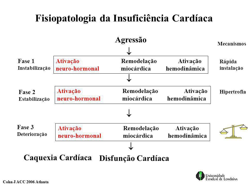 Fisiopatologia da Insuficiência Cardíaca Ativação Remodelação Ativação neuro-hormonal miocárdica hemodinâmica Ativação Remodelação Ativação neuro-horm