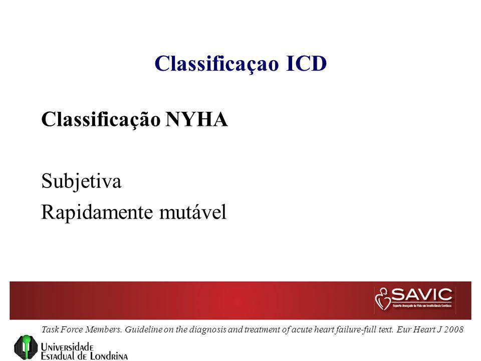 Classificaçao ICD Classificação NYHA Subjetiva Rapidamente mutável Task Force Members. Guideline on the diagnosis and treatment of acute heart failure