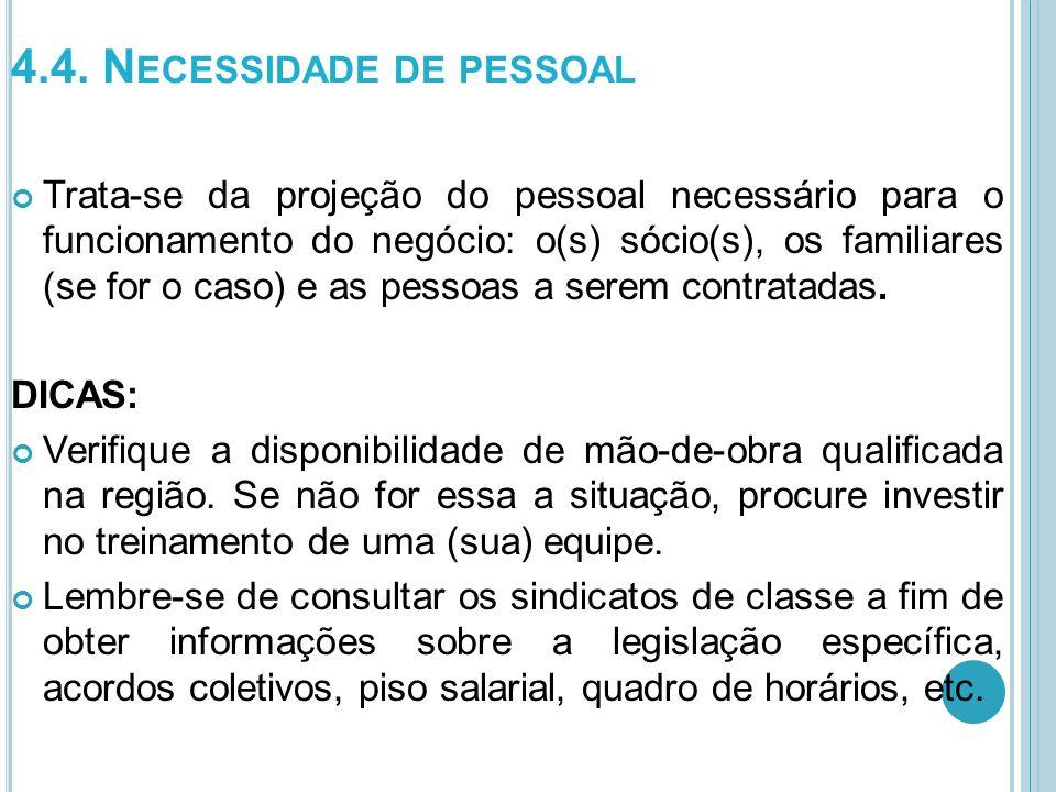 4.4. N ECESSIDADE DE PESSOAL Trata-se da projeção do pessoal necessário para o funcionamento do negócio: o(s) sócio(s), os familiares (se for o caso)