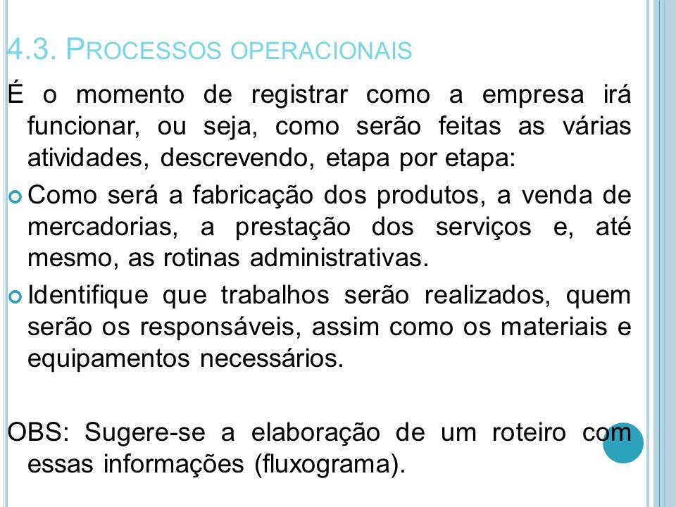 4.3. P ROCESSOS OPERACIONAIS É o momento de registrar como a empresa irá funcionar, ou seja, como serão feitas as várias atividades, descrevendo, etap