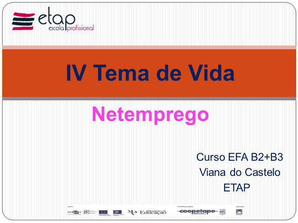 Curso EFA B2+B3 Viana do Castelo ETAP IV Tema de Vida Netemprego